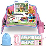 Mesa Coche para Niños lenbest, Mesa de Viaje para Niños, Bandeja de Viaje, Gato Modelage, Patrón de Fondo de Cuento de Hadas, con 5 Papeles de Dibujo Temáticos para Gatos, Fácil de Usar - Rosa y Azul