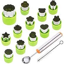 TIMGOU - Juego de 12 moldes para cortar frutas verduras con cuchara de melón y cepillo de limpieza, mini estampillas para galletas para niños y manualidades ...