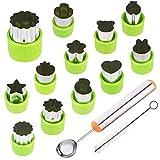 TIMGOU Timgouu 12-teiliges Gemüseset mit Melonen-Kugelschaufel und Reinigungsbürste, Mini-Pie Keksstempel, Form für Kinder, Basteln, Backen und Nahrungsergänzungsmittel-Werkzeuge für Küche, Grün