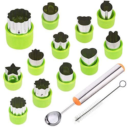 TIMGOU - Juego de 12 moldes para cortar frutas verduras con cuchara de melón y cepillo de limpieza, mini estampillas para galletas para niños y manualidades, herramientas para hornear y complementos alimenticios para cocina, color verde