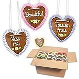 100 Stück Premium - Lebkuchen Herz im Mischkarton - 10cm - versch. Frauen Sprüche | Oktoberfestherz | saftigte Lebkuchenherzen frisch gebacken | Lebkuchenherz online bestellen von LEBKUCHEN WELT