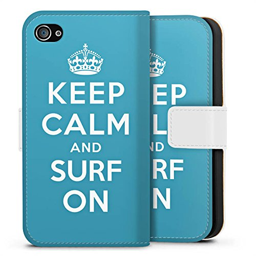 Apple iPhone X Silikon Hülle Case Schutzhülle Keep Calm surfen Urlaub Sideflip Tasche weiß