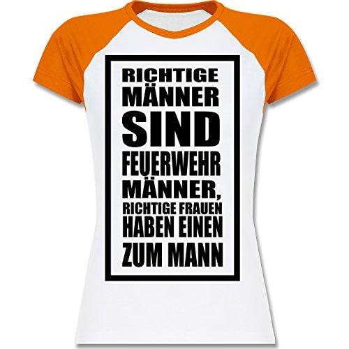 Shirtracer Feuerwehr - Feuerwehr - Richtige Männer - Zweifarbiges Baseballshirt/Raglan T-Shirt für Damen Weiß/Orange