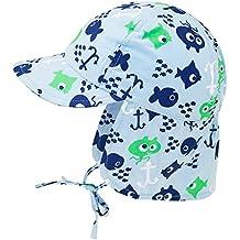 Fiebig Babymütze Jungenmütze Nackenschutzmütze Nackenschutzkappe Sommermütze Stoffmütze Bindemütze mit Fischen für Babys (FI-83821-S17-BJ0) inkl. EveryHead-Hutfibel