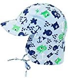 Fiebig Babymütze Jungenmütze Nackenschutzmütze Nackenschutzkappe Sommermütze Stoffmütze Bindemütze mit Fischen für Babys (FI-83821-S17-BJ0-31-49) in Bleu, Größe 49 inkl. EveryHead-Hutfibel