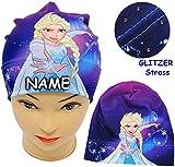 Unbekannt Mütze / Jerseymütze -  Disney Frozen - die Eiskönigin _ mit Strass Steinen  - Größe 51 / 53 - Circa 5 bis 8 Jahre - incl. Name - Beanie - UV Protection - un..