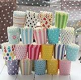 Tukistore 100 Papier Cupcake Dessert Muffinform Papier Muffin Cases Cupcake Wrapper Greaseproof Cupcake Papier Liner Keine Muffin Pan benötigt Cupcakes Papers (Gelegentlich Bunt,Kleine Größe)