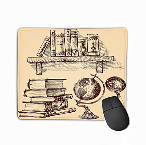 Custom Mouse Pad,11.81 X 9.84 Inch Unique Printed Mouse Mat Design Books Education Set Books Education Set Wooden Shelf Books Earth Globe Magnifying Glass Stack Various Books -