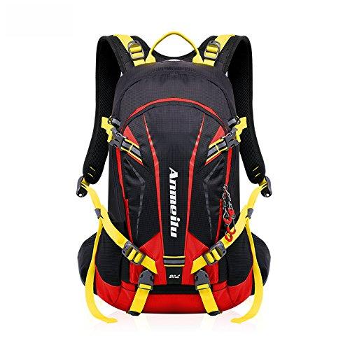 Fahrrad Rucksack 20L Multifunktionaler Wanderrucksack Wasserdicht mit Regen Cover Helm für Sport Reiten Reisen Camping, Rot