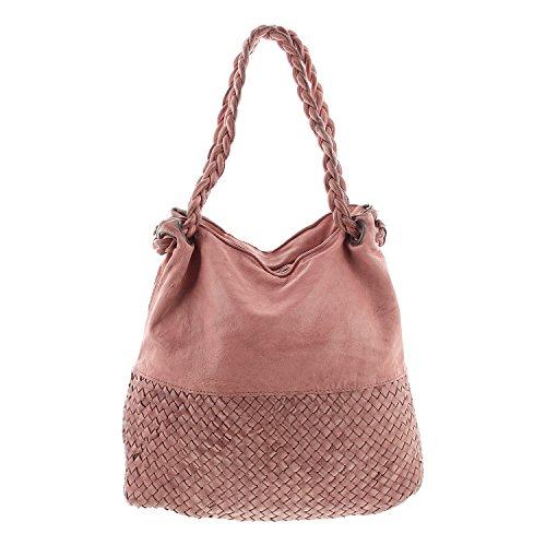 IO.IO.MIO Damen Ledertasche Vintage Schultertasche geflochten rosa , 31-38x36x15 cm (B x H x T) rosa