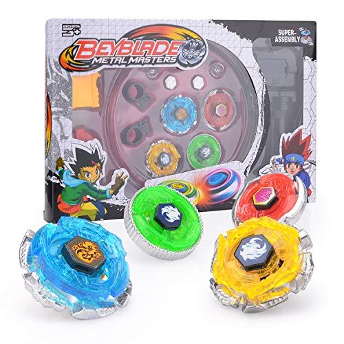 Colmanda 4 Stück Gyro Burst Starter Set 4D kampfkreisel kreisel Launcher für Kinder Spielzeug Masters Beschleunigungslauncher Speed Kreisel mit Arena Ideal für Kindertag, Halloween, Weihnachten