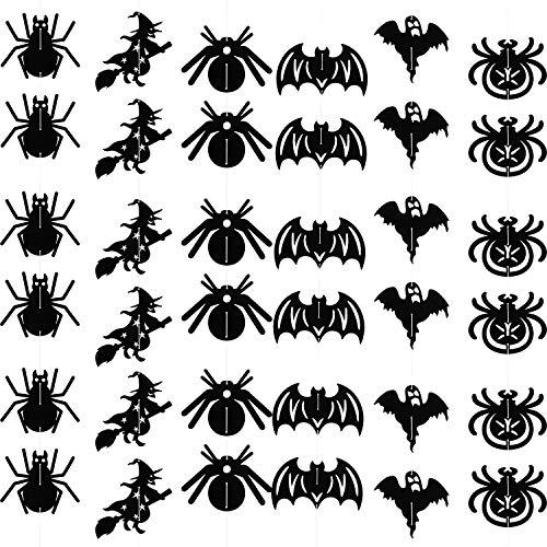 Blulu 72 Stücke Halloween Decke Hängen Dekorationen Umfasst Papier Fledermäuse, Spinnen, Hexen und Geister mit 12 Stücke Seile für Indoor Party Haunted Hause Dekor