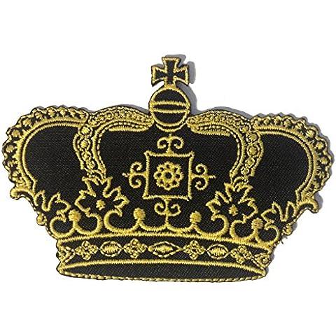 Parches - princesa reina corona - negro/oro - 8,3x7,3cm - termoadhesivos bordados aplique para ropa