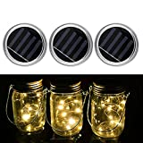 Rumfo Solar Mason Jar Lid Lights, 6 Pack LED Fairy String Lights Lids Insert for Garden Deck Patio Party Wedding Christmas Decorative Lighting Fit for Regular Mouth (20 led -Warmwhite)
