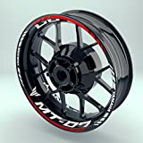 Felgenaufkleber Set Yamaha MT 07 für Motorrad   17 Zoll   Felgenrandaufkleber & Felgenbettaufkleber   Vorder- & Hinterreifen Komplett-Set (Doppelt - glänzend)
