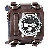 Avaner Herren-Uhr Armband Retro Steampunk Hip-Hop Gotik 74mm breit Lederarmband Sportuhr großes Zifferblatt Analog Quarz-Armbanduhr Braun
