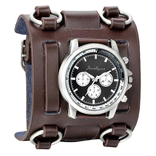 Avaner Herren Retro Steampunk Hip-Hop Gothic braun 74 mm breit Leder Manschette Armband Sport Armbanduhr Frauen Big Dial Analog Quarz Armbanduhr