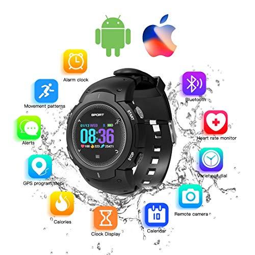 (ZZADD Fitness Trackers Smart Watch für Android/iOS-Telefon, Wasserdichte Sport-Fitnessuhr mit Pulsmesser, Schrittzähler-Uhr mit Schlafmonitor, Schrittzähler für Damen Herren (Schwarz))