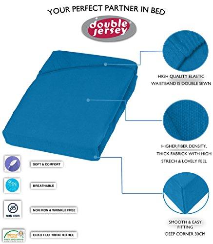 Double Jersey - Spannbettlaken 100% Baumwolle Jersey-Stretch bettlaken, Ultra Weich und Bügelfrei mit bis zu 30cm Stehghöhe, 160x200x30 Petrol - 3