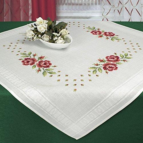 Stickpackung SOMMER ROSEN / Komplettes Vorgezeichnetes Tischdecken Set zum Sticken / Blumen Stickset mit Stickvorlage für Erwachsene / Sticken im Kreuzstich