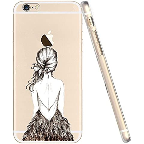 Cover iPhone 6S, Custodia iPhone 6, UCMDA Silicone Trasparente Morbida Clear Gel Caso, Ultra Slim Antiurto Anti-Graffio Bumper Case con Disegni