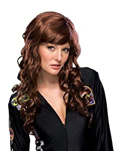 Sexy Long Wavy Auburn Brown Bangs Brunette Costume Wig (peluca)