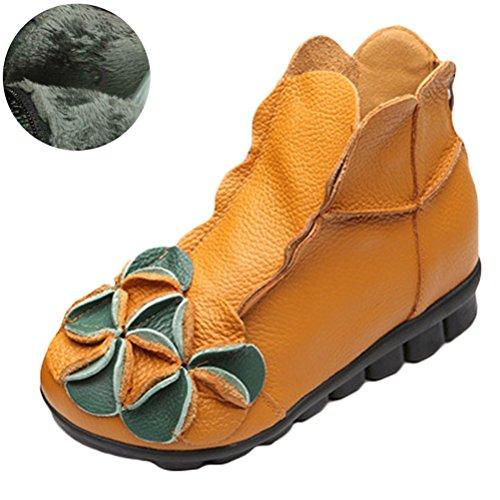 Gelb Schuhe Handgefertigt Damen Beiläufig 1 Art Neu Vogstyle Blumen Fleece 6Tqpp