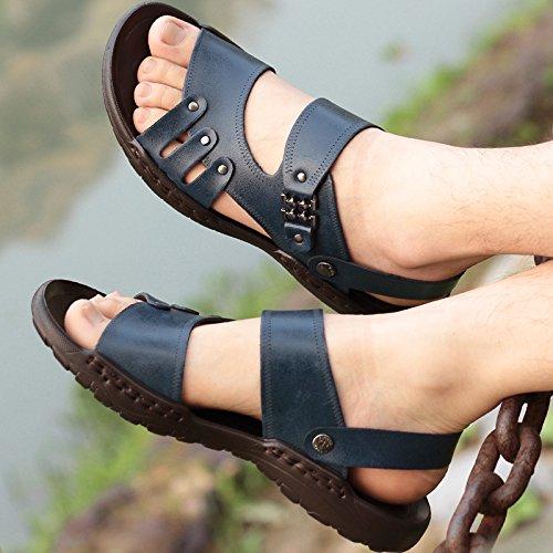 Xing Lin femmes Sandales Sandales pour hommes mâle marée dété de plage Chaussons Trend et décontracté Chaussures Sandales Bleu 1