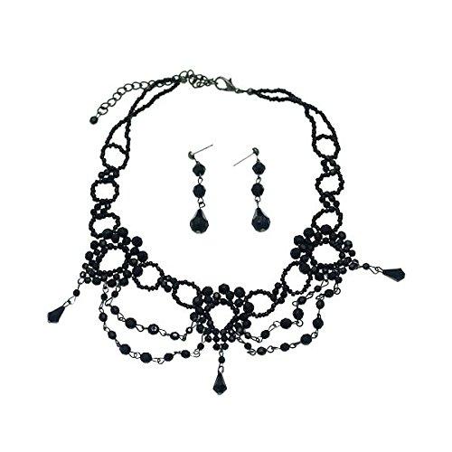 Victoriana Orecchino collana nera Messaggio Set