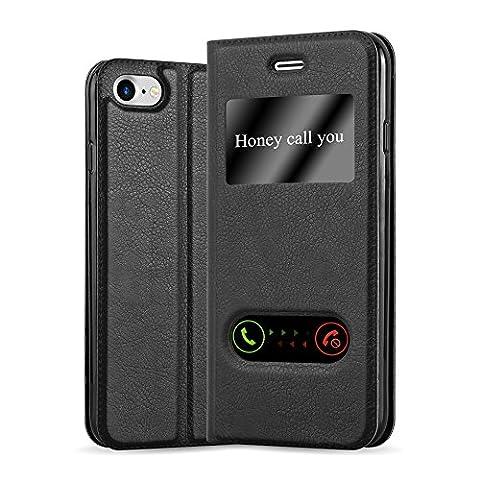 Apple iPhone 8 / 7 / 7S Hülle in SCHWARZ von Cadorabo - Handy-Hülle mit Magnet-Verschluss im View Design mit Sicht-Fenster Case Cover Schutz-hülle Etui Tasche Book Klapp (Tasche Magnete)