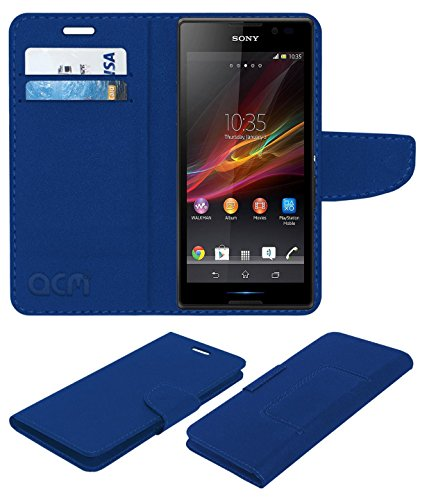ACM Mobile Leather Flip Flap Wallet Case for Sony Xperia C C2305 Mobile Cover Blue