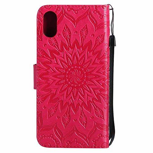 Custodia iPhone X, Dfly Premium PU Goffratura Mandala Design Pelle Chiusura Magnetica Protettiva Portafoglio Custodia Super Sottile Appoggio Flip Cover Per Apple iPhone X / iPhone 10 (2017), Rosa Rosso