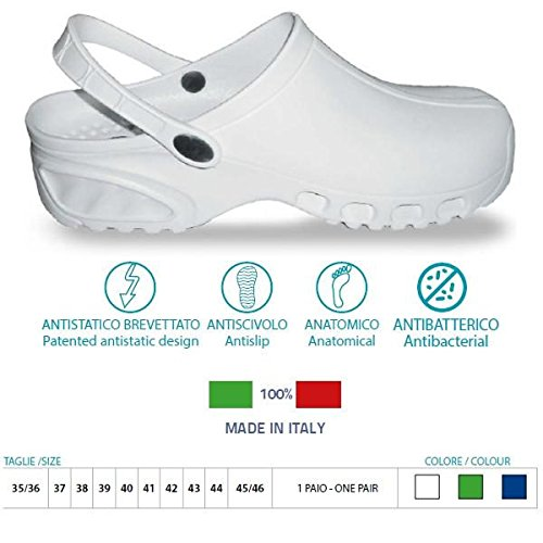 Zuecos sanitarios flotantes antiestáticos BREATH® Art. 160 Color Blanco Talla 38