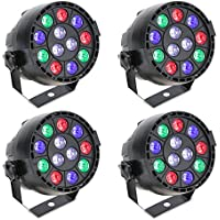 Lixada 15W 4PCS DMX512 RGBW Projecteur Led Éclairage de scène Lampe de Scène AC 100-240V PAR Light Strobe Professionnel 8 canaux Commande Vocale automatique Noël Party Disco Show