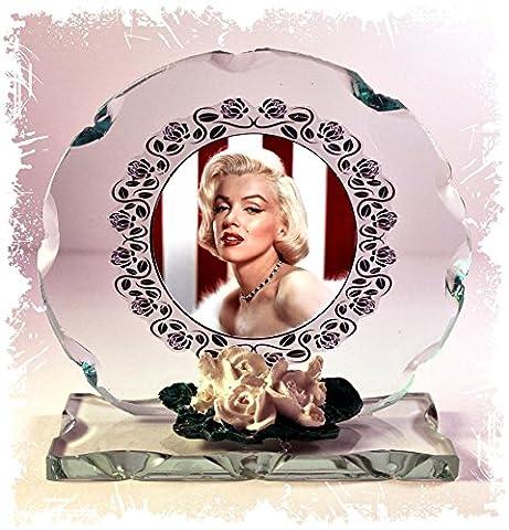 MARILYN MONROE Foto Schnitt Glas rund Rahmen Plaque Fan Club besonderen Anlass Limited Edition
