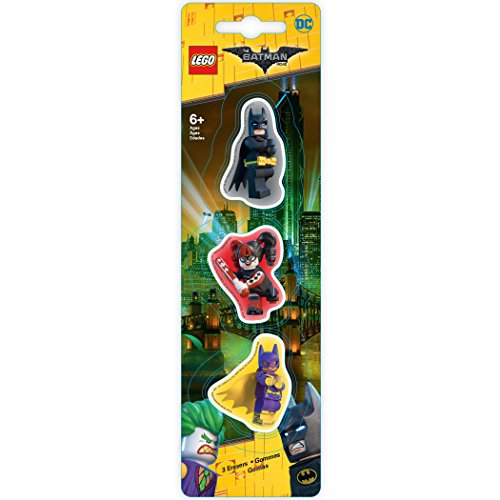 LEGO Batman LEGO Batman-Radiergummi, 3er-Pack (Batman/Batgirl/HQ) (Comics Lego Movie Dc)