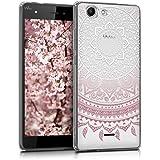 "kwmobile Funda para Wiko Pulp 4G (5"") - Case para móvil en TPU silicona - Cover trasero Diseño Sol hindú en rosa claro blanco transparente"