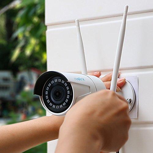 Reolink WLAN IP Kamera, Überwachungskamera 1440p HD mit Audio für Außen, 2,4/5GHz WiFi Kamera mit IR Nachtsicht, SD Kartenslot und Bewegungserkennung, RLC-410W