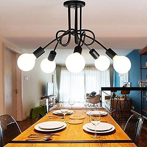 5 cabezas de la lámpara de techo luz pendiente moderna de la lámpara colgante de Loft Cafe Fixture