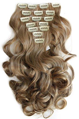 PRETTYSHOP XL 7 Teile Set Clip in Extensions 60cm Haarverlängerung Haarteil gewellt sandblond #22TT16 CE11-1