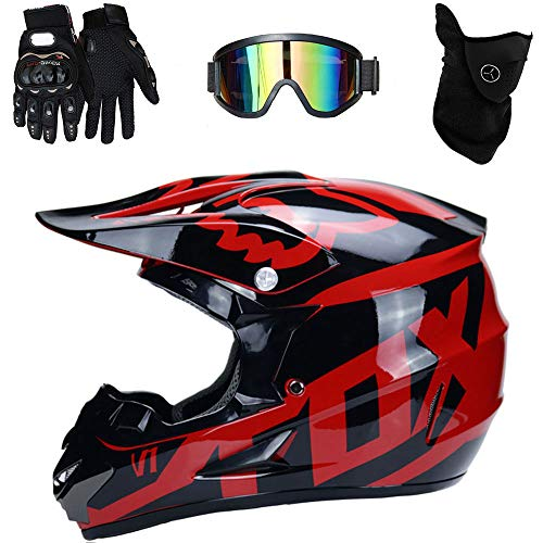 Casco Moto ATV ADV UTV Casco Moto Cross Country D. O. T Endurance Certificazione di Sicurezza, con oculari/Guanti/Maschera,E,M(54~55cm)