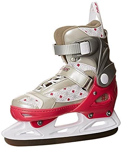 Schreuders Sport Girl Adjustable Polyamide Figure Skate - Fuchsia/Silver/White, Size 33 - 36