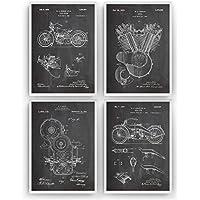 Harley Davidson Affiche De Brevet - Lot De 4 Affiches - Impressions Prints Art Moto Motocycle Motocyclette Motarde Motard Patent Posters Cadeaux Pour Hommes Décor Femmes Lui Plan - Cadre Non Inclus