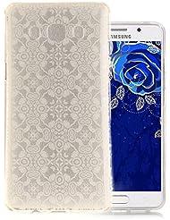 Aeeque® Coque pour Samsung Galaxy J5 2016, Ultra Mince Housse Silicone Transparent Dentelle Blanc Motif Premium TPU Souple [Absorbant les Chocs] [Anti-rayures] Etui Bumper de Protection