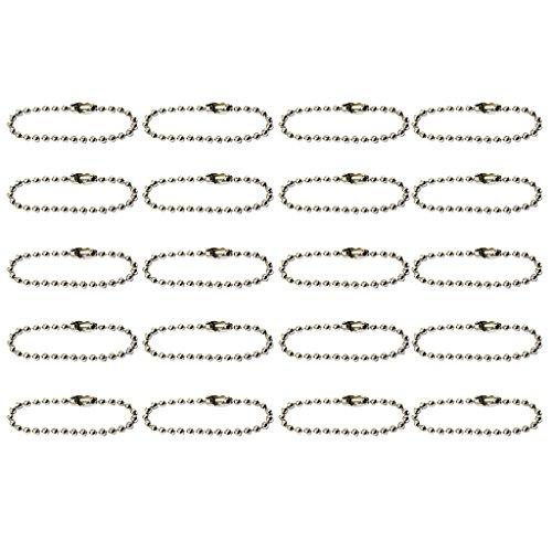 20pcs Kugelkettchen Kugelkette Schlüsselketten für DIY Schmuck Basteln - Silber, 10cm