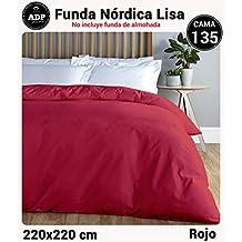 ADP Home - Funda nórdica Lisa, Calidad 144Hilos, 16 hermosos colores, cama de 135 cm - Granate