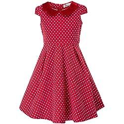 Danna Belle Vestido Vintage de Lunares de Niñas Años 50 para Fiesta de Algodón (8-9 Años, Rojo)