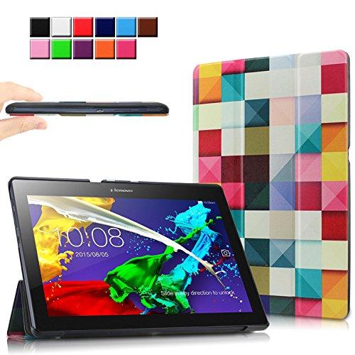 Infiland Lenovo Tab 2 A10-70 / Tab 2 A10-70L / Tab 2 A10-70F / Tab 2 A10-30F / Tab 2 A10-30L / Tab 3 10 Business/ Tab3 10 Plus Hülle Case, Ultra Dünn Tri-Fold Smart-Muschel PU Leder Schutzhülle für Lenovo Tab 2 A10-70 / Tab 2 A10-30 / Tab 3 10 Business/ Tab3 10 Plus 10,1 Zoll Tablet (mit Auto Schlaf / Wach Funktion)(Farbige Quadrate)