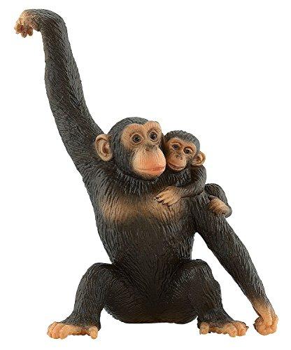 Bullyland 63594 - Spielfigur, Schimpansin mit Baby, ca. 11 cm