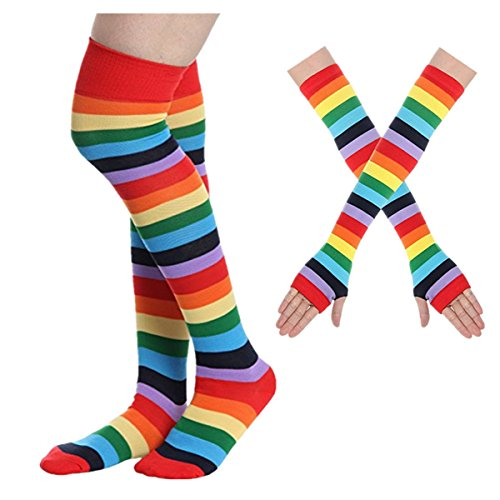 Azornic 2 Pairs Colorful Rainbow Stripe Long Knit Gloves Socks Set Party Accessory